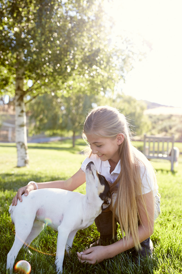 lifestyle photographer, advertising photographer, green grass, lawn,girl playing, smiling,girl with a dog, blonde girl, equestrian,