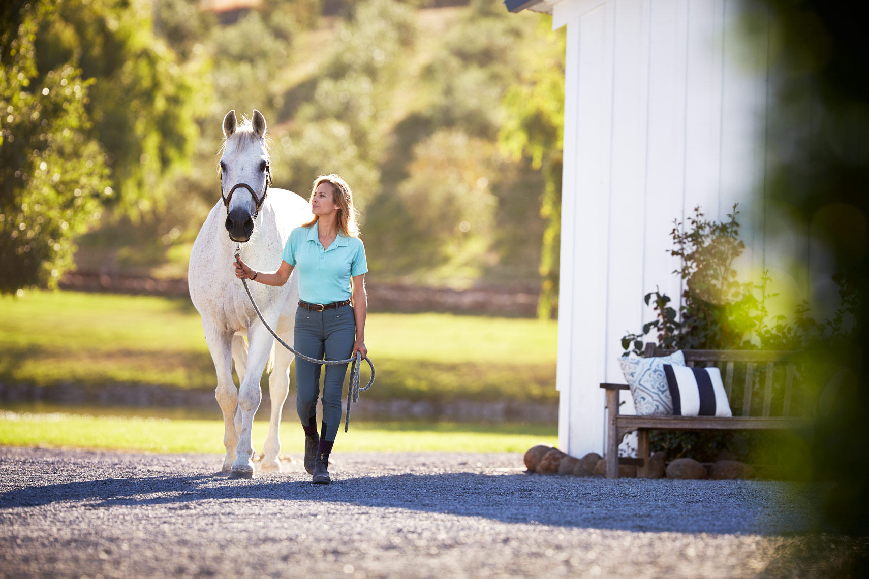 lifestyle photographer, advertising photographer, woman with horse, women leaning, smiling, backlit, blonde woman, equestrian, white horse, barn, woman riding horse