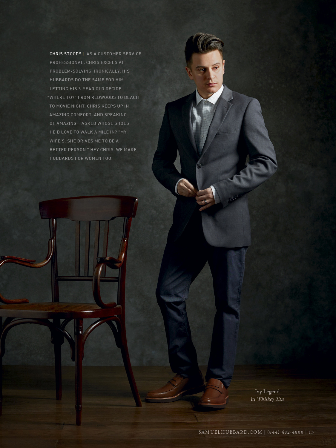 portrait photographer, product photographer, Samuel hubbard shoes, men in suit, men with a tie, thonet chair